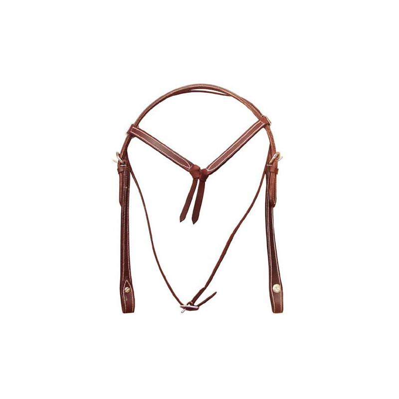 Västernträns Knutet pannband. Dubbelsytt läder.